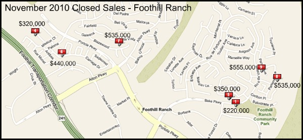 Map of Homes Sold In Foothill Ranch November 2010